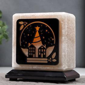 """Соляной светильник """"Снежный город"""" E14 15Вт диммер бел. соль 1,5-1,7 кг 12х7х13 см"""