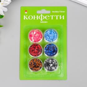 """Конфетти """"Звёздочки"""" 6 цветов, 4 мм"""