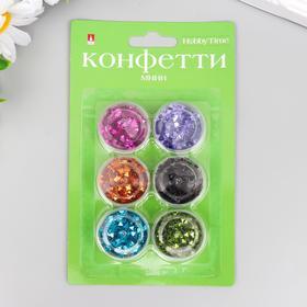 """Конфетти """"Треугольные  пришивные"""" 6 цветов, 3 мм"""