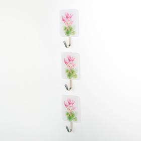 Набор крючков на липучке 'Розовые цветы', 3 шт Ош