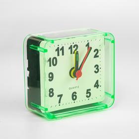 """Будильник """"Квадрат"""", дискретный ход, 5.5 х 5.5 см, d=5.5 см, зелёный"""