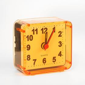 """Будильник """"Квадрат"""", дискретный ход, 5.5 х 5.5 см, d=5.5 см, оранжевый"""