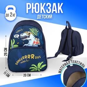 Рюкзак «Динозавр», 20х11х28 см, отд на молнии, н/карман, синий