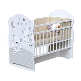 Кровать детская FUNNY BEARS колесо-качалка с маятник (белый) (1200х600)
