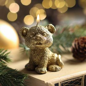 """Свеча новогодняя """"Символ года - тигрёнок"""", 5 см, золото"""