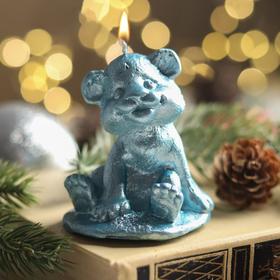 """Свеча новогодняя """"Символ года - тигрёнок"""", 7.5 см, голубой металлик"""