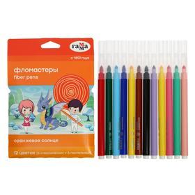 Фломастеры 12 цветов (6 обычных + 6 пастельных) «Гамма» «Оранжевое солнце», смываемые