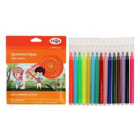 Фломастеры 15 цветов (5 обычных + 5 пастельных + 5 неоновых) «Гамма» «Оранжевое солнце», смываемые