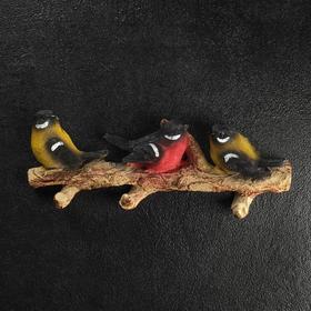 """Подвесной декор """"Веточка с тремя птичками"""" цветная"""