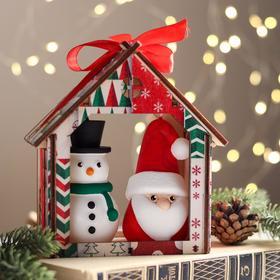 """Набор декоративных свечей в коробке """"Санта и Снеговик"""", 2 штуки, 13,5х12х6,3 см"""