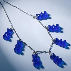"""Колье """"Мармеладные мишки"""" на тонкой цепочке, цвет матово-синий в серебре, 35см"""