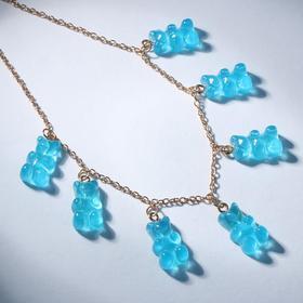 """Колье """"Мармеладные мишки"""" на тонкой цепочке, цвет матово-голубой в золоте, 35см"""