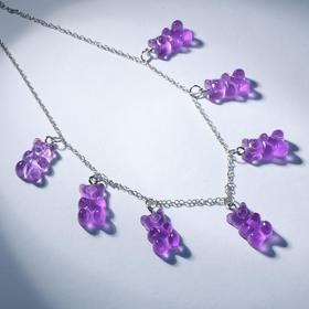 """Колье """"Мармеладные мишки"""" на тонкой цепочке, цвет матово-фиолетовый в серебре, 35см"""