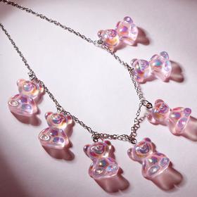 """Колье """"Мармеладные мишки"""" на тонкой цепочке, цвет радужно-розовый в серебре, 35см"""