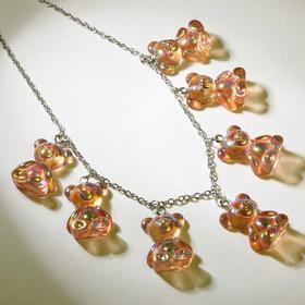"""Колье """"Мармеладные мишки"""" на тонкой цепочке, цвет радужно-коричневый в серебре, 35см"""