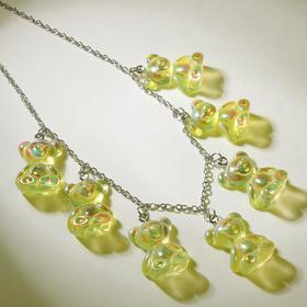 """Колье """"Мармеладные мишки"""" на тонкой цепочке, цвет радужно-жёлтый в серебре, 35см"""