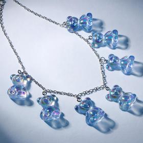"""Колье """"Мармеладные мишки"""" на тонкой цепочке, цвет радужно-голубой в серебре, 35см"""