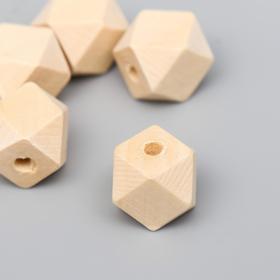 Бусины деревянные многогранники 14х14 мм (набор 5 шт) без покрытия