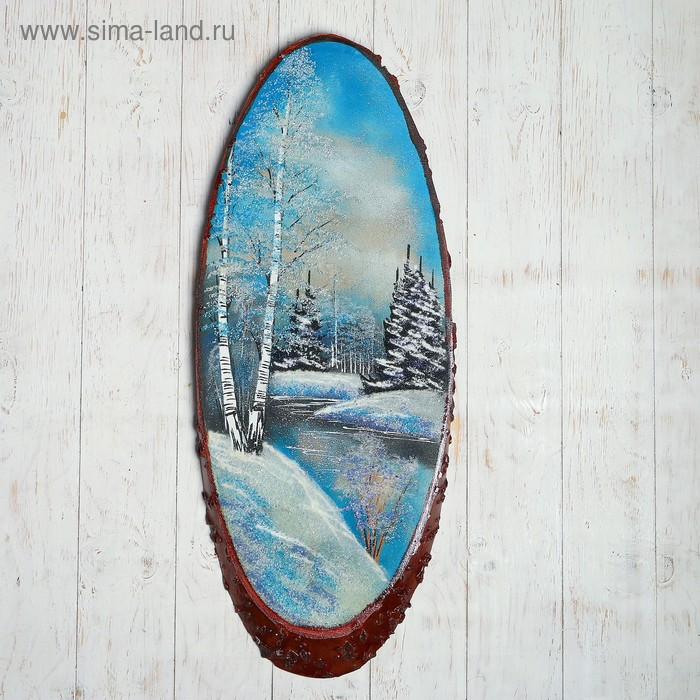 Картина из каменной крошки в форме среза дерева