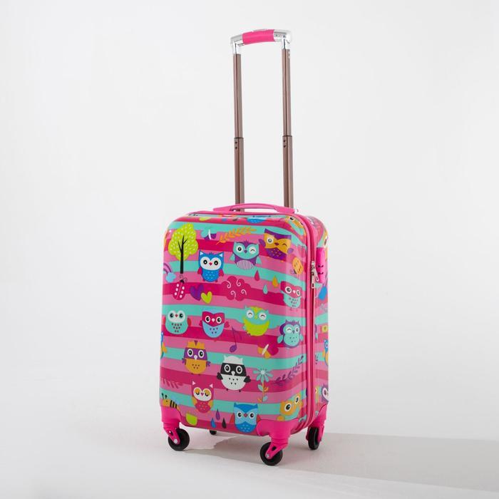 """Чемодан детский 18"""", отдел на молнии, 4 колеса, кодовый замок, цвет розовый - фото 1658261"""