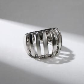 "Кольцо ""Тренд"" ступеньки, цвет серебро, безразмерное"