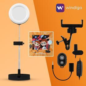 Набор Юного Блогера Windigo KIDS CB-98, кольцевая лампа, штатив, микрофон, пульт, черн.