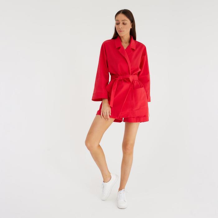 Костюм женский (жакет и шорты) MIST р. 42, красный - фото 314744209