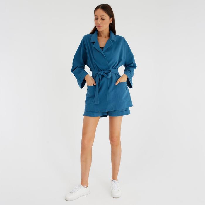 Костюм женский (жакет и шорты) MIST р. 42, джинс - фото 314744245