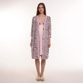 Комплект женский (халат, сорочка), цвет серый/розовый/цветы, размер 44
