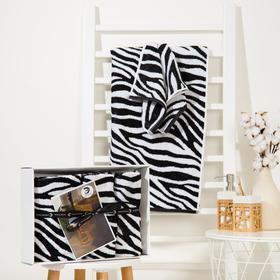 Набор полотенец Этель Zebra 3 шт; 100%хл, 420 гр/м2 (70*130, 30*60 см - 2шт)