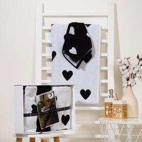 Набор полотенец Этель Hearts 3 шт; 100%хл, 420 гр/м2 (70*130, 30*60 см - 2шт)