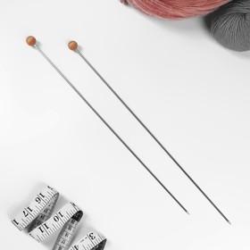 Спицы для вязания, прямые, d = 3 мм, 35 см, 2 шт