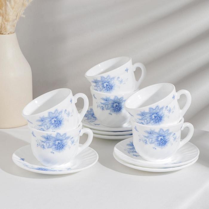 Сервиз чайный Доляна «Синий бриз», 12 предметов, чашка 200 мл, блюдце d=14 см, цвет белый