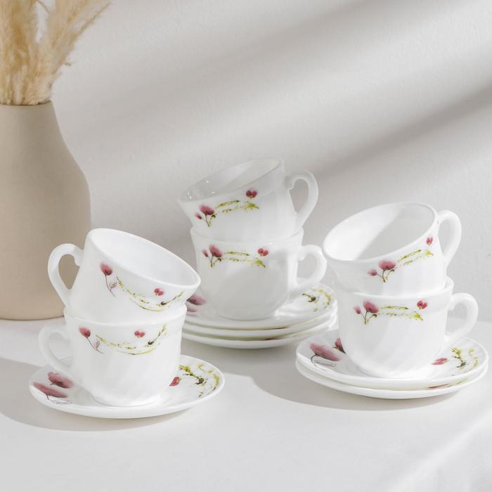 Сервиз чайный Доляна «Нежные маки», 12 предметов, чашка 200 мл, блюдце d=14 см, цвет белый