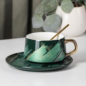 Чайная пара «Штрихи», чашка 220 мл, блюдце d=15,5 см, цвет зелёный