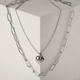 """Кулон """"Цепь"""" сердце объёмное, цвет серебро ,L=47см"""