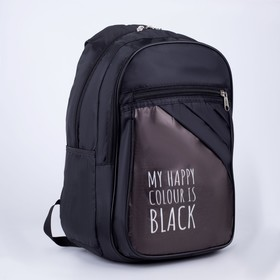 Рюкзак Black, 28х16х43 см, 2 отдела на молниях, н/карман, чёрный