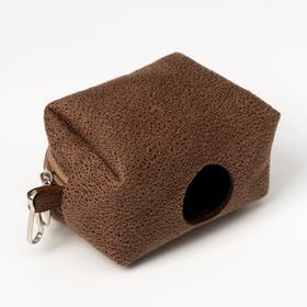Контейнер-сумка для уборки за собаками (без пакетов), тёмно-коричневый