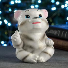 """Копилка """"Тигр с лапкой"""" белый, 16см"""