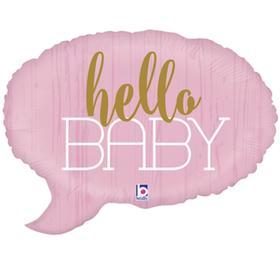 """Шар фольгированный 24"""" Hello baby, спич бабл, фигура, цвет розовый"""