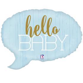 """Шар фольгированный 24"""" Hello baby, спич бабл, фигура, цвет голубой"""
