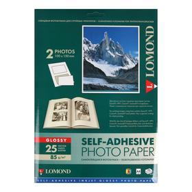 Фотобумага самоклеящаяся для струйной печати 10х15 см LOMOND, 2 деления на листе А4, 85 г/м², глянцевая, 25 листов (2412033)