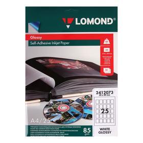 Фотобумага самоклеящаяся для струйной печати 3х4 см LOMOND, 25 делений на листе А4, 85 г/м², глянцевая, 25 листов (2412073)