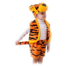 Карнавальный костюм «Тигрёнок», шапка, жилет, шорты с хвостом, 3-5 лет, рост 104-116 см