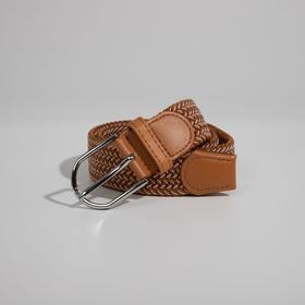 Ремень женский, ширина 3,5 см, резинка, плетёнка, пряжка металл, цвет коричневый