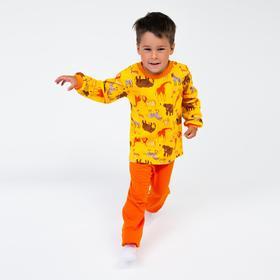 Пижама детская, цвет жёлтый/звери, рост 122 см