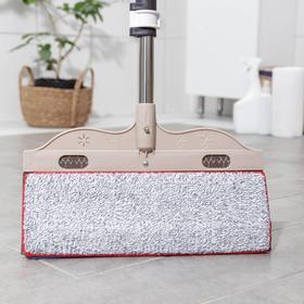 Швабра-веник для мытья пола Доляна, стальная ручка 87-124 см, насадка из микрофибры 33 см, цвет МИКС