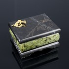 """Box """"Ural"""", 8x10 cm, with the lizard and engraving, serpentine"""