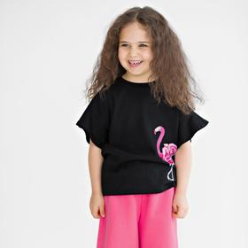 Футболка для девочки, рост 116 см, цвет чёрный