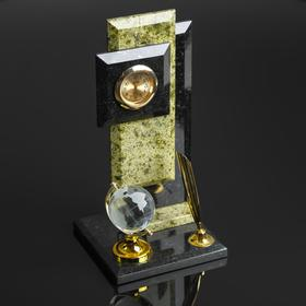 """Business card holder """"Stella"""": a pen holder with globe clock"""
